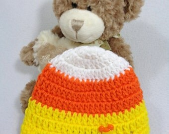 Halloween Baby Cap, Candy Corn Hat with Mickey Mouse Button, MADE TO ORDER, Gift for Baby, Shower Gift, Fall Infant Beanie, Mickey Inspired