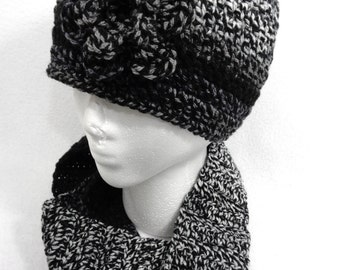 Shades of Gray and Black Scarf and Hat Crochet Cap and Infinity Scarf Set, Simple Cowl and Hat, Gift for Friend, Ready to Ship for Mom