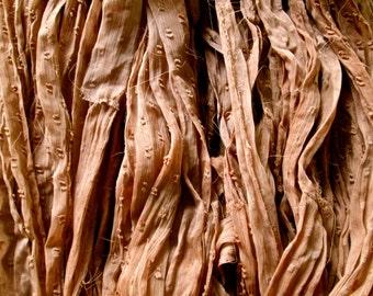 Dried Roses Nubby Silk Chiffon Ribbon Yarn You Choose 5, 10 or 55 Yards BOHO Mixed Media