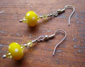 Sunshine Polka Dot Lampwork Earrings