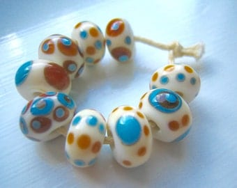 Turquoise, Ivory & Amber Lampwork Glass Beads, SRA, UK Seller/Maker