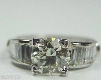 Antique Diamond Platinum Art Deco Engagement Ring | RE-870