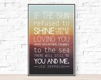 Led Zeppelin Song Lyrics Poster - Thank You