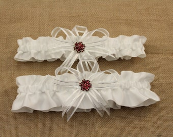 White Satin Wedding Garter Set with Red Rhinestone Charms  (Your Choice, Single or Set)