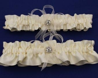 Ivory Satin Wedding Garter Set with Rhinestone Charms  (Your Choice, Single or Set)