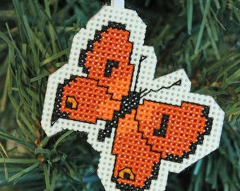 Handmade Orange Butterfly Cross Stitch Ornament