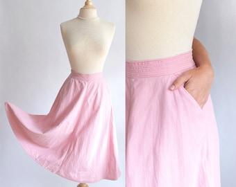 Vintage 40s Skirt | 1940s Cotton Skirt | Koret of California Pale Pink Skirt xs