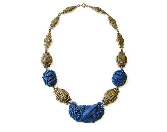 Art Deco Necklace, Lapis Glass, Molded Glass, Chinoserie Chinese, Gold Tone, Art Deco Jewelry, Vintage Jewelry