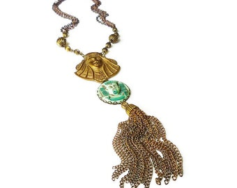 Egyptian Revival, Vintage Necklace, Gold Tone, Tassel Fringe Chains, Pharaoh King Tut, Green Glass, Statement Jewelry