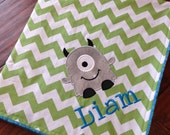 Personalized Baby Blanket- Monster Baby Blanket- Chevron Minky Blanket- Minky Baby Blanket