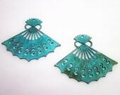 Fan Charm -- Asian Pendant -- Green Metal Pendant -- Fan Pendant -- Jewelry Fan Supply --Verdigris Pendant --Large Patina Pendant -Green Fan