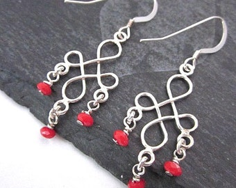Double Infinity Earrings -- Silver & Red Bead Earrings -- Beaded Infinity Earrings -- Red Bead Dangles -- Dainty Red Earrings -- Red Dangles