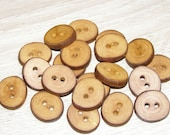"""20 Handmade plum wood Tree Branch Buttons with Bark, accessories (0,83'' diameter x 0,16"""" thick)"""