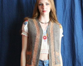 60's Wool Vest / Golden Chain stitched Unisex Waistcoat / Haute Hippie / gray vest / Bohemian Dreams