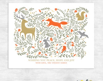 woodland holiday cards / christmas card set /  peace on earth holiday greeting cards