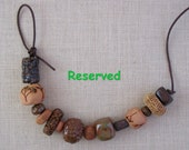 Reserved for Janice - 14 Handmade Ceramic Beads - Plant Imprints - Multicolor