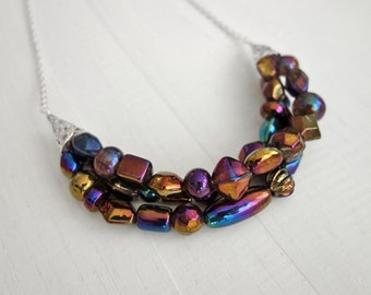 Statement bib necklace purple bronze glass beads chunky bib necklace