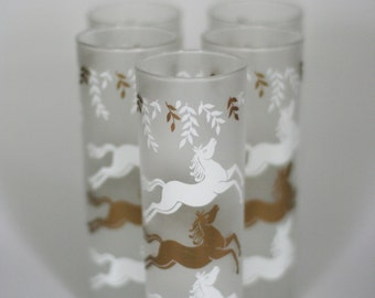 vintage libby prancing pony frosted glasses