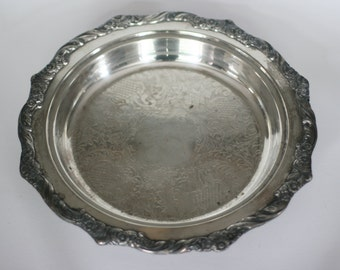 vintage round footed silver plate tray