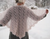 Pale rose triangle shawl, hand knitted, triangular, mohair lace, light victorian rose wrap.