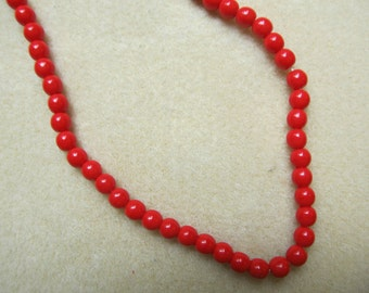 "Red Howlite Beads - 5mm Round Beads 16"" strand - Jewelry Craft Supply Destash"