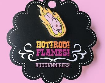 Flaming Bunny Enamel Pin / Lapel Pin