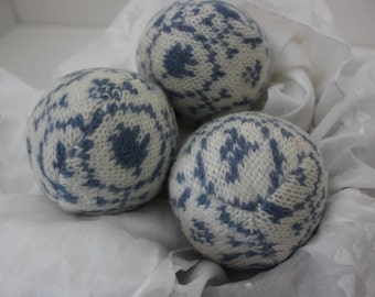 Wool Dryer Balls, Set of 3 from Repurposed Holiday Sweaters in Willow Blue