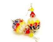 Red Yellow White Black Lotus Flower Earrings, Lampwork Earrings, Glass Bead Earrings, Unique Earrings, Glass Art Earrings, Dangle Earrings