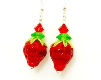 Strawberry Earrings, Lampwork Earrings, Glass Earrings, Glass Bead Earrings, Beadwork Earrings, Crystal Cluster Earrings, Food Earrings