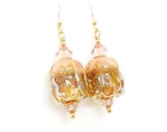 Pink Earrings, Lampwork Earrings, Glass Earrings, Beadwork Earrings, Glass Bead Earrings, Unique Earrings, Glass Art Earrings