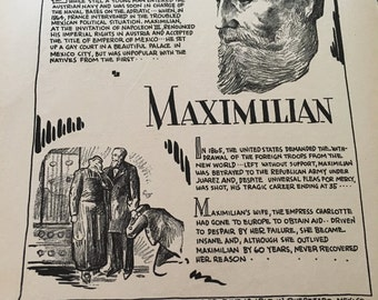 Book page print. Maximilian. A european prince on the throne of mexico. 7x11 Great for framing for the collector. History.