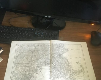 Book pages map of  Massachusetts Boston circa 1910. Stunning.11 x  17. Book page suitable for framing. Free shipping.