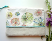 Sea Urchins Watercolor Floral Cosmetic Pouch, Floral Make-Up Bag, Watercolor Designer Fabric