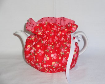 2 Cup Floral on Red Reversbile Teapot Cozy