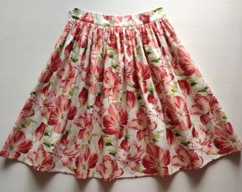 Cotton skirt. Spring tulips. Size S. Юбка из хлопка. 42-44 размер
