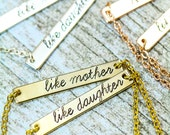 Mother Daughter Necklace Set • Like Mother Like Daughter Silver Bar Necklace • Mother's Day Gift Set • Mom Daughter • Mommy and Me Jewelry