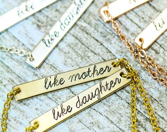 SALE - Mother Daughter Necklace Set - Silver Bar Necklace - Like Mother Like Daughter - Christmas Gift Ideas  - Xmas Gift Ideas