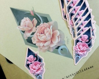 TWO Peonies Die Cut Stickers, Limited Run