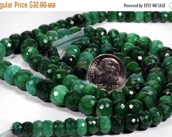 ON SALE Emerald Rondelles Faceted Rondels Shaded Greens May Birthstone Earth Mined Precious Stone - 5 to 10mm - 7-Inch Strand