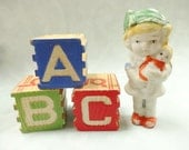 Vintage Bisque Miniature Doll With Baby Alphabet Letter Block A B C Play Time Novelty Display Collection Grouping Estate Destash