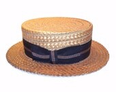 Vintage 1920s  Straw Boater Skimmer Men's Hat with Ribbon and Sweatband Size 7