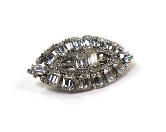 Art Deco Vintage Crystal Clear RHINESTONE Brooch Duette Dress Clips