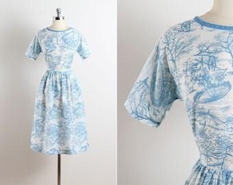 Flower Market . vintage 1950s dress . vintage cotton dress . 5605