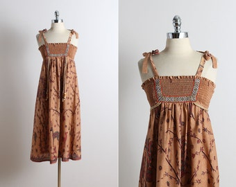 Vintage 70s Dress | Young Edwardian 1970s dress | stag print cotton xs/s/m | 5747