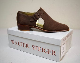 VINTAGE Walter Steiger Brown Linen Fisherman TStap Sandals Flats Size US 6 1/2 M