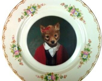 "Fiona Fox, School Portrait - Altered Vintage plate 10"""