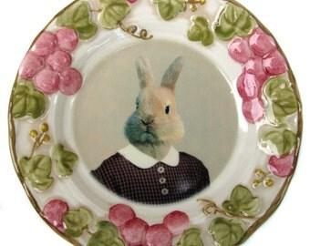 "Bernice the Bunny, school portrait plate - Altered Vintage Plate 6.5"""