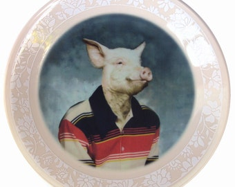 Pete, School Portrait - Altered Vintage plate 8.5""