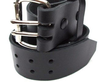 Mens Heavy Duty Leather Belt 2 inch Wide - Black & Brown