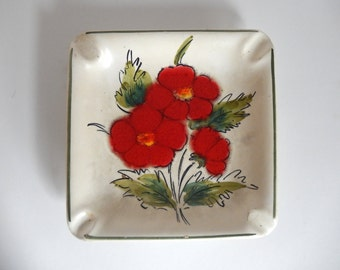 Vintage 1970's Brazilian Hand Painted Ceramic Pottery Ashtray with Red Flowers - Made in Brazil